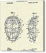 Baseball Mask 1912 Patent Art Canvas Print
