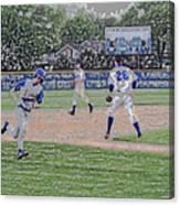 Baseball Runner Heading Home Digital Art Canvas Print