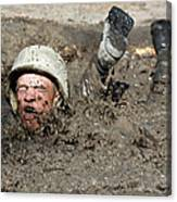 Basic Cadet Trainees Attack The Mud Pit Canvas Print