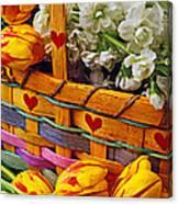 Basket Of Spring Flowers Canvas Print
