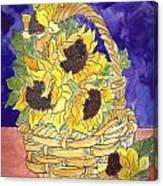 Basket Of Sunflowers Canvas Print