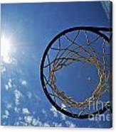 Basketball Hoop And The Sun Canvas Print