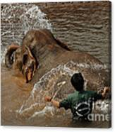 Bath Time In Laos Canvas Print