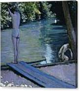 Bather About To Plunge Into The River Yerres Canvas Print