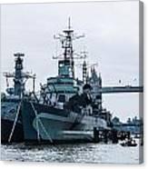 Battleships And Tugboat Canvas Print