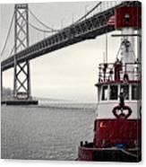 Bay Bridge And Fireboat In The Rain Canvas Print