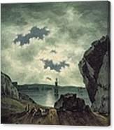 Bay Scene In Moonlight Canvas Print