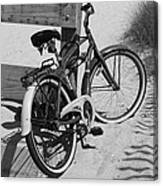 Beach Bike - Black And White Canvas Print