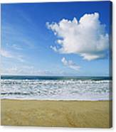 Beach, Ocean, Sky, And Clouds Canvas Print