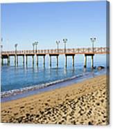 Beach Pier In Marbella Canvas Print