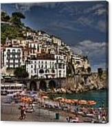 Beach Scene In Amalfi On The Amalfi Coast In Italy Canvas Print