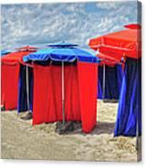 Beach Umbrellas Nice France Canvas Print