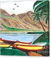 Beached Catamaran Boats Canvas Print
