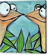 Beak To Beak On A Branch Canvas Print