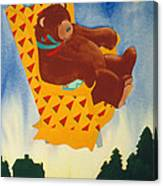 Bear Loved Flying Over The Forest In His Favorite Chair Canvas Print