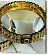 Beautiful Green And Purple Covered Gold Bangles With Semi-precious Stones Inlaid Canvas Print