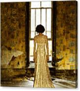Beautiful Woman In Lace Gown In Abandoned Room Canvas Print