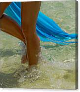 Beautiful Woman Legs In The Crystal Water Canvas Print
