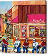 Beauty's Restaurant-montreal Street Scene Painting-hockey Game-hockeyart Canvas Print