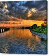 Sunset At Belle Isle Pier Detroit Mi Canvas Print