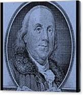 Ben Franklin In Cyan Canvas Print