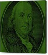 Ben Franklin In Dark Green Canvas Print