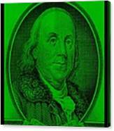 Ben Franklin In Green Canvas Print