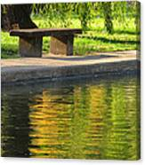 Bench And Reflections In Tower Grove Park Canvas Print