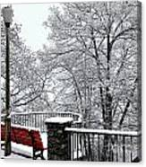 Bench With Snow Canvas Print