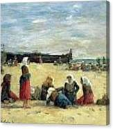 Berck - Fisherwomen On The Beach Canvas Print