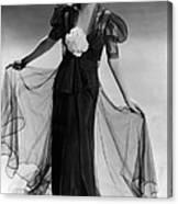 Bette Davis Wearing Black Taffeta Gown Canvas Print