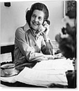Betty Ford Works At Her Desk Situated Canvas Print