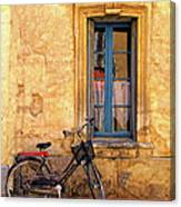 Bicycle And Window In France Canvas Print