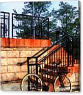 Bicycle By Train Station Canvas Print