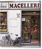 Bicycle In Front Of Italian Delicatessen Canvas Print