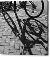 Bicycle Shadows In Black And White Canvas Print