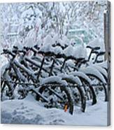 Bicycles In The Snow Canvas Print