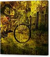 Bicyclist On The Move No. Ol4 Canvas Print