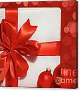 Big Red Bow On Gift  Canvas Print