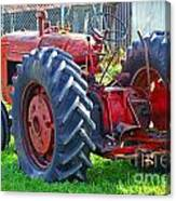 Big Red Rubber Tire Tractor Canvas Print