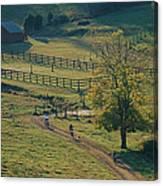 Bikers On Dirt Road, Pocahantas County Canvas Print