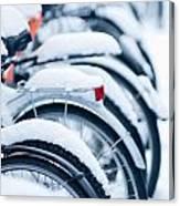 Bikes In Snow Canvas Print