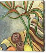 Bird Of Paradise Flowers And Fruits On A Carpet In Yellow Brown Green Canvas Print