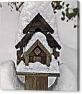Birdhouse In Snow Canvas Print