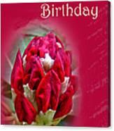 Birthday Card - Red Azalea Buds Canvas Print