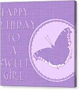 Birthday Girl Greeting Card - Mourning Cloak Butterfly Canvas Print