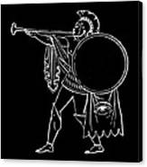 Black And White Ancient Greek Warrior Canvas Print