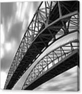 Black And White Blue Water Bridge Canvas Print