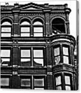 Black And White Brick Apartment Building Canvas Print