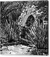 Black And White Mexican Patio With Stone Arbor San Diego California Usa Canvas Print